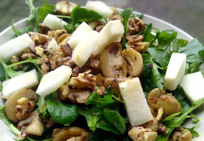 Salat rucola birne