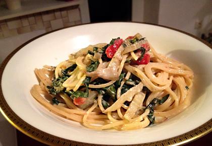pasta mit mangold senf sahne we eat fine. Black Bedroom Furniture Sets. Home Design Ideas