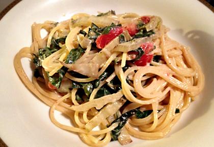 mangold kochen pasta mit mangold senf sahne we eat fine. Black Bedroom Furniture Sets. Home Design Ideas